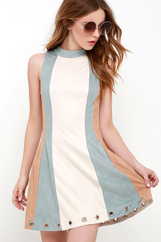 Fun Beige Color Block Dress Suede Dress Mock Neck