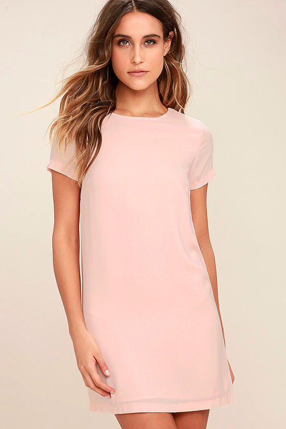 Chic Blush Pink Dress - Shift Dress - Short Sleeve Dress - $48.00