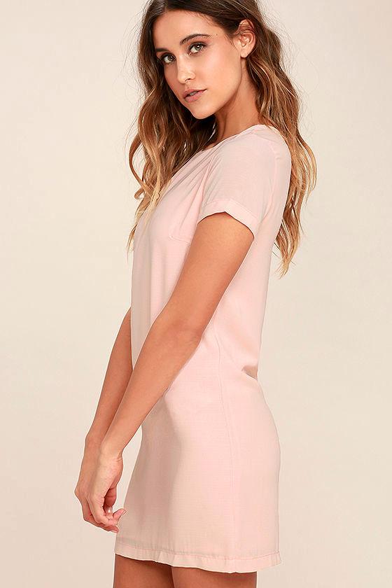 Chic Blush Pink Dress - Shift Dress - Short Sleeve Dress - $48.00