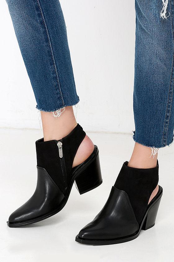 b0e0efffb591 Cute Black Booties - Suede Booties - Cutout Booties -  85.00