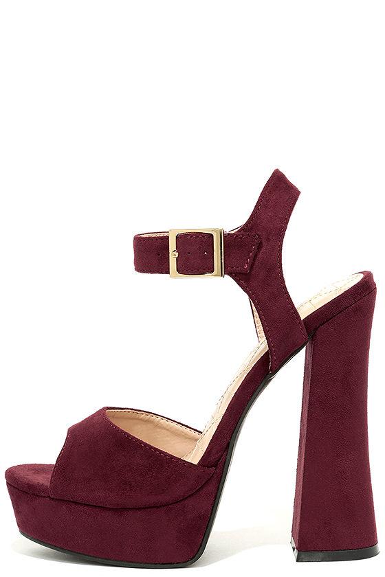 942b8fa10198 Cute Wine Red Heels - Platform Heels - Ankle Strap Heels -  38.00