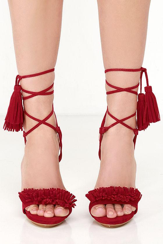 1039daa4beb Sexy Red Heels - Tassel and Fringe Heels - Lace-Up Heels -  81.00