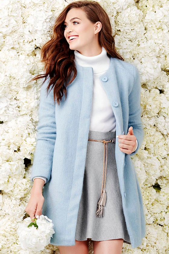 BB Dakota Vianne - Light Blue Coat - Wool Coat - $119.00
