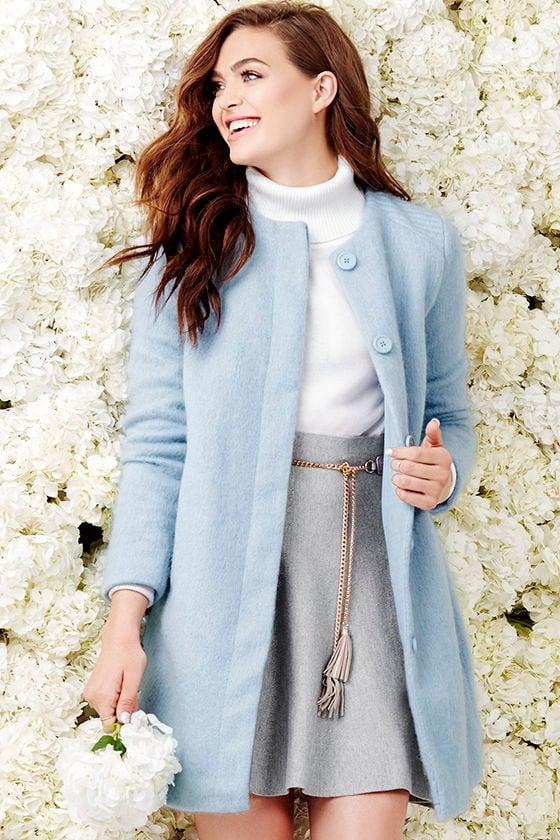 BB Dakota Vianne - Light Blue Coat - Wool Coat - $119.00