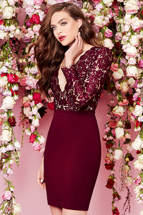Swoon-er or Later Burgundy Long Sleeve Lace Dress 3