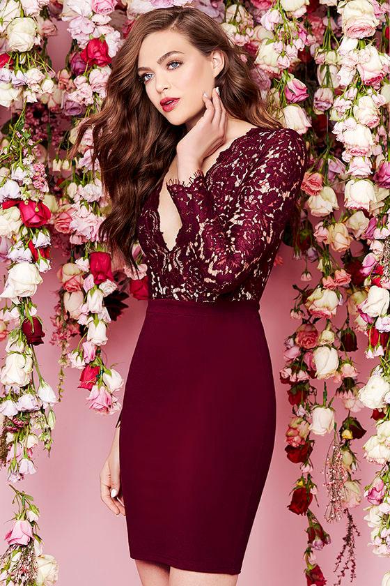2e9b8c4b216f Chic Burgundy Dress - Lace Dress - Long Sleeve Dress