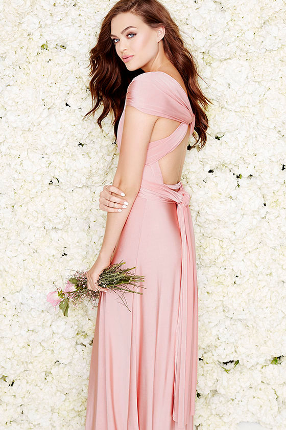 Always Stunning Convertible Blush Pink Maxi Dress 1