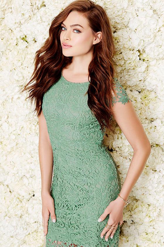 831e71b8e1 Cute Backless Dress - Sage Green Dress - Lace Dress -  58.00