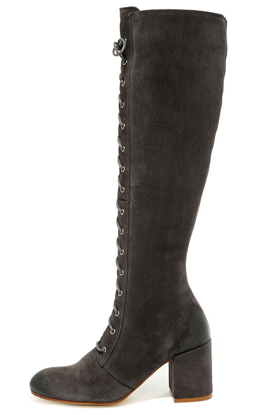 Cute Grey Boots - Suede Boots - Lace-Up