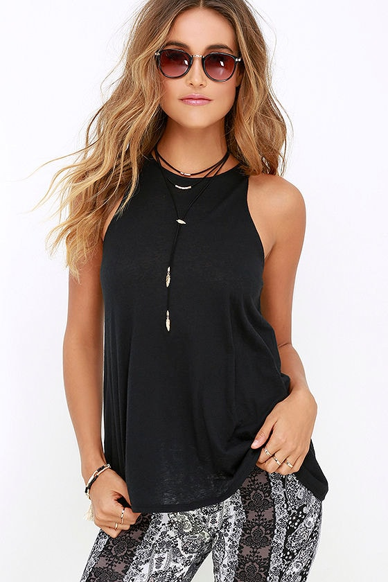 0a223994f RVCA Label High Neck Tunic Top - Sleeveless Top - Black Top - Burnout Top -  $29.00