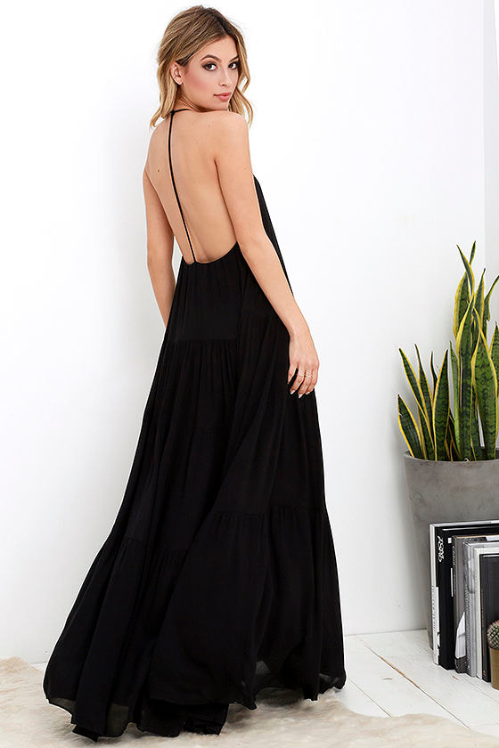 833475a82c Lovely Black Dress - Maxi Dress - Backless Maxi Dress - $74.00