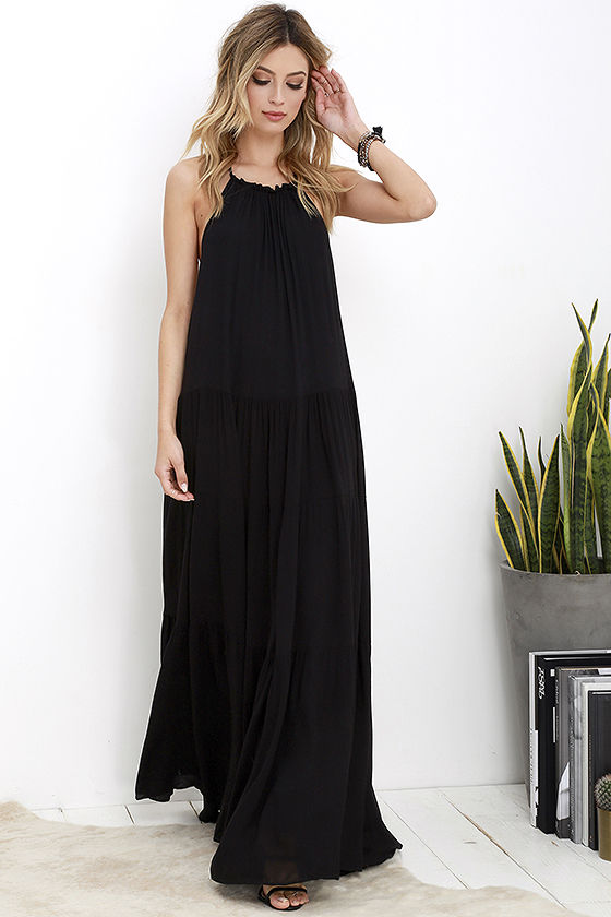 Lovely Black Dress - Maxi Dress - Backless Maxi Dress - $74.00