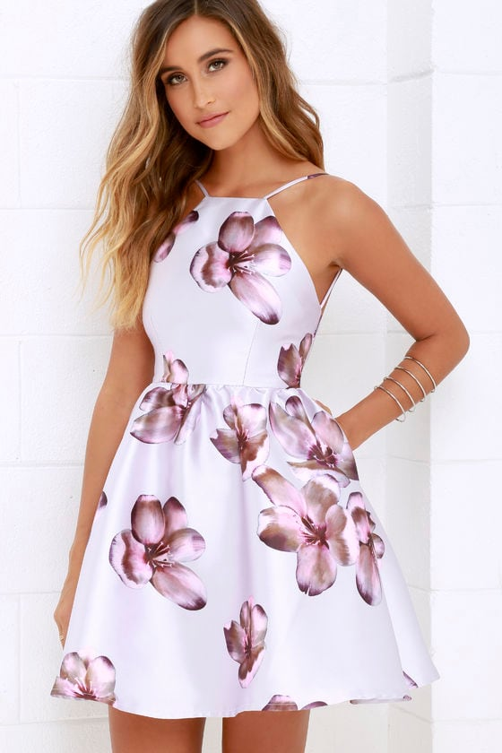 Lovely floral print dress backless dress skater dress for Dresses to wear to a wedding for teens