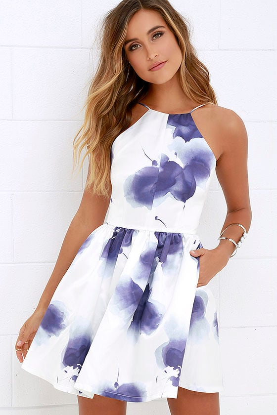 Purple and Ivory Dress - Floral Print Dress