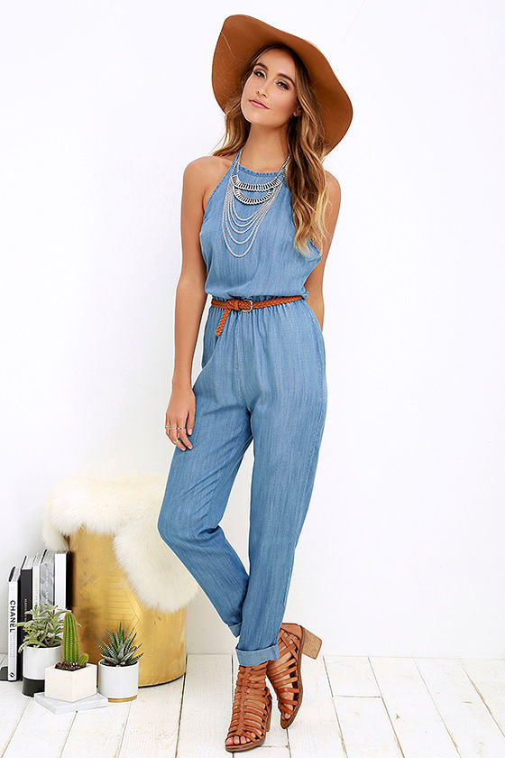 Rvca Be About It Jumpsuit Chambray Jumpsuit Blue
