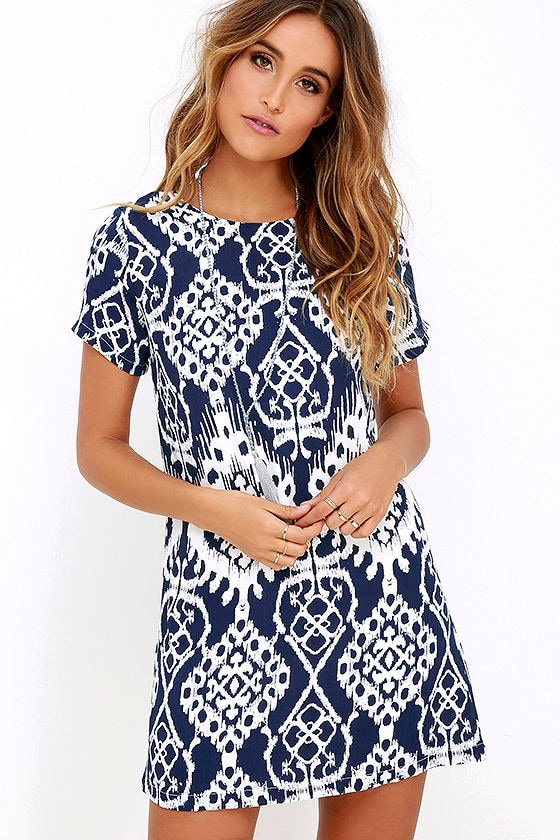 Lucy Love Charlotte - Navy Blue Dress - Print Dress - Shift Dress ...
