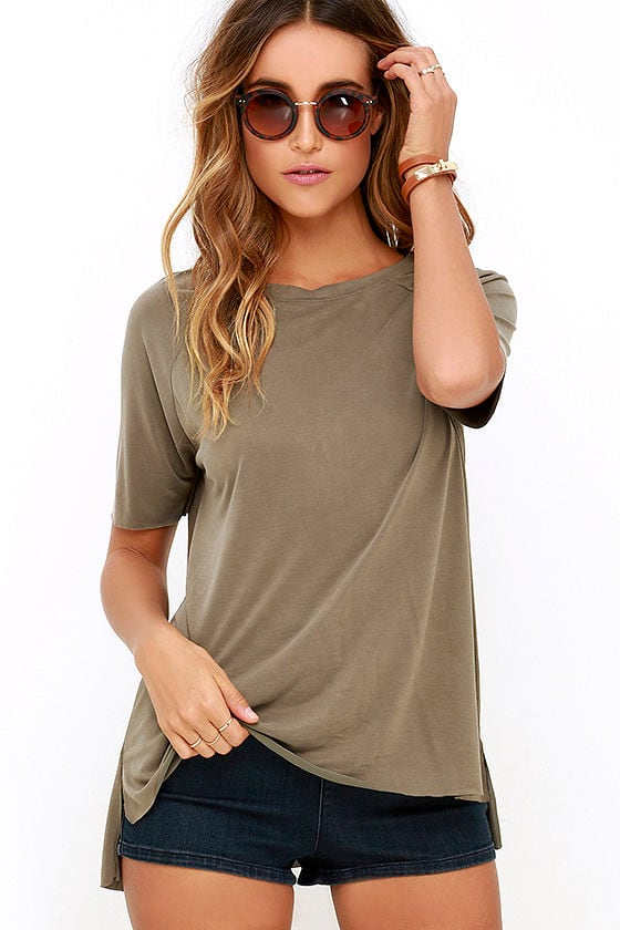 7a106f378bf97 Cool Olive Green Tee - High-Low Tee - Oversized Tee -  32.00