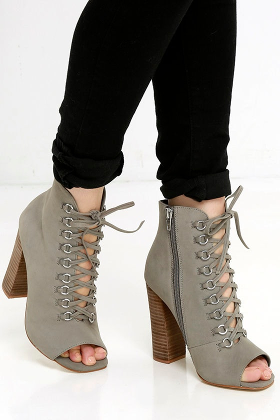 Cute Grey Ankle Booties - Peep-Toe Booties - Lace-Up Booties - $149.00
