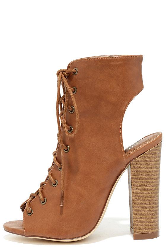 Lace-Up Booties - Peep Toe Heels - Tan Booties - $38.00