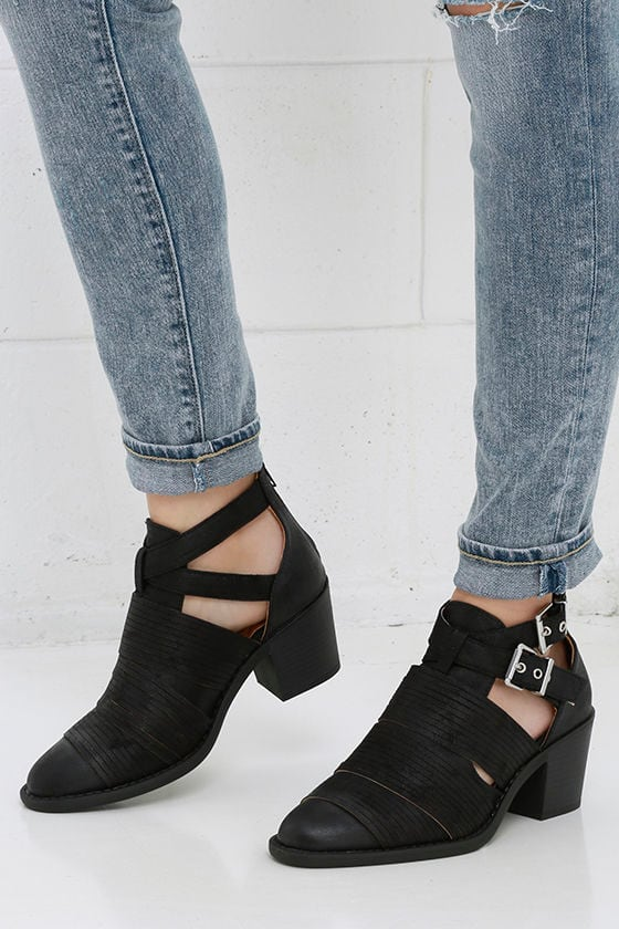 d4566a8d410 Cute Black Ankle Boots - Strappy Ankle Boots -  38.00