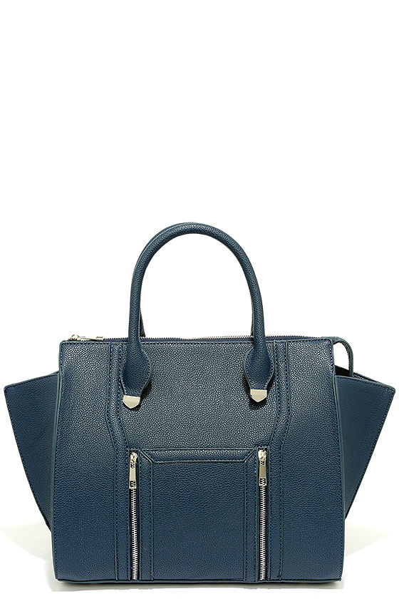 4632f0ef2 Chic Navy Blue Handbag - Winged Handbag - Vegan Leather Handbag - $40.00