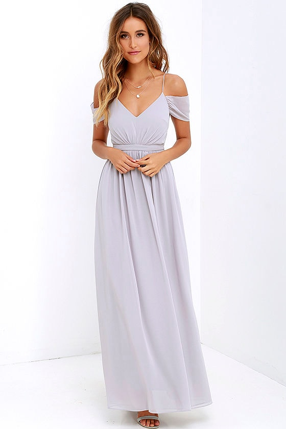 Lovely Grey Dress - Off-the-Shoulder Dress - Maxi Dress - $89.00