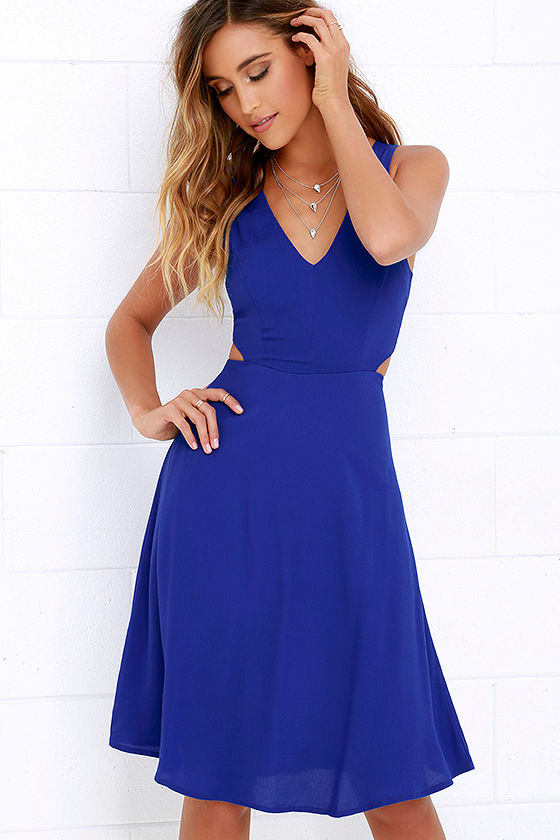 Midi Dress Cobalt Blue Dress Backless Dress 54 00