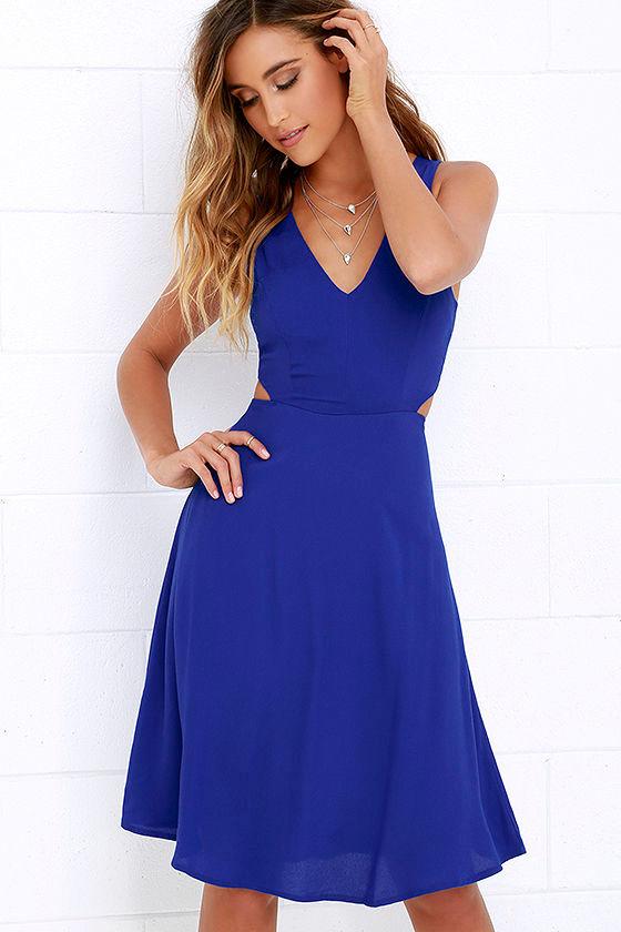 Midi Dress - Cobalt Blue Dress - Backless Dress - $54.00