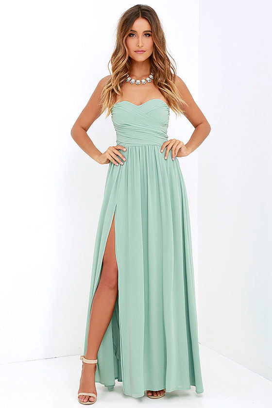 Lovely Sage Green Gown Strapless Dress Maxi Dress 82 00