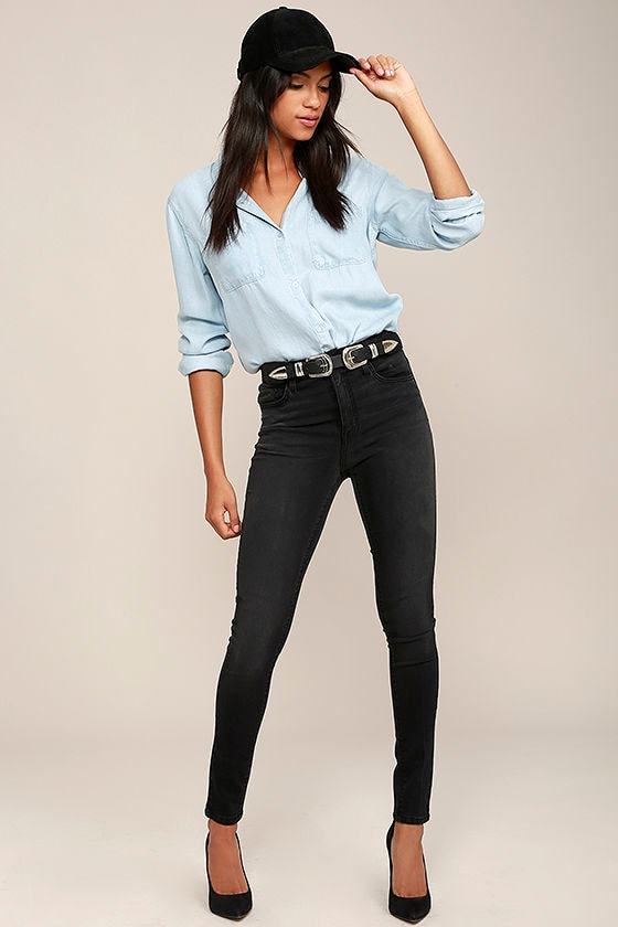 84220607a52 Washed Black Skinny Jeans - High-Waisted Jeans - Stretch Jeans -  74.00