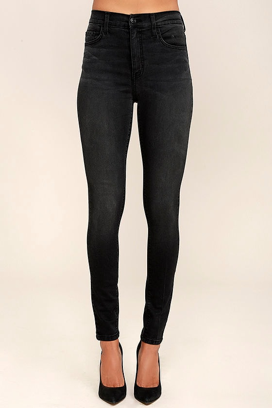 Washed Black Skinny Jeans - High-Waisted Jeans - Stretch Jeans ...