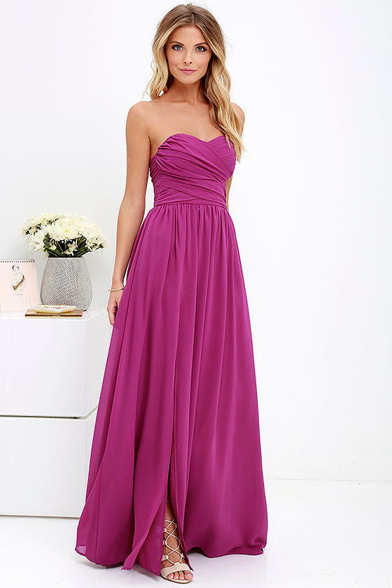 Lovely Magenta Purple Gown - Strapless Dress - Maxi Dress - $82.00