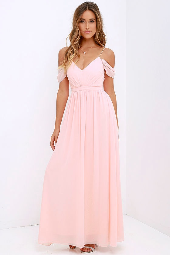 Lovely Peach Dress - Off-the-Shoulder Dress - Maxi Dress - $89.00