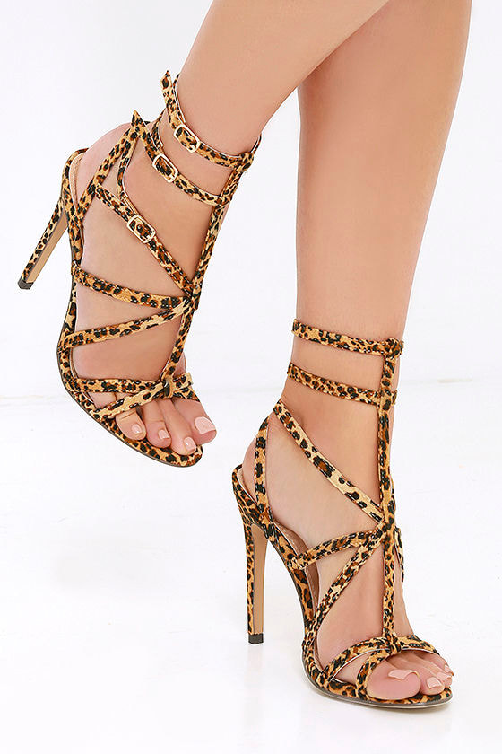 c23560e4893 Sexy Leopard Heels - Caged Heels - Dress Sandals -  32.00