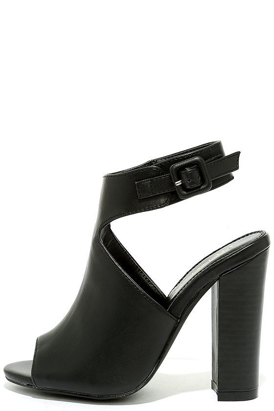 Cute Black Booties - High Heel Booties - Peep-Toe Heels - $37.00