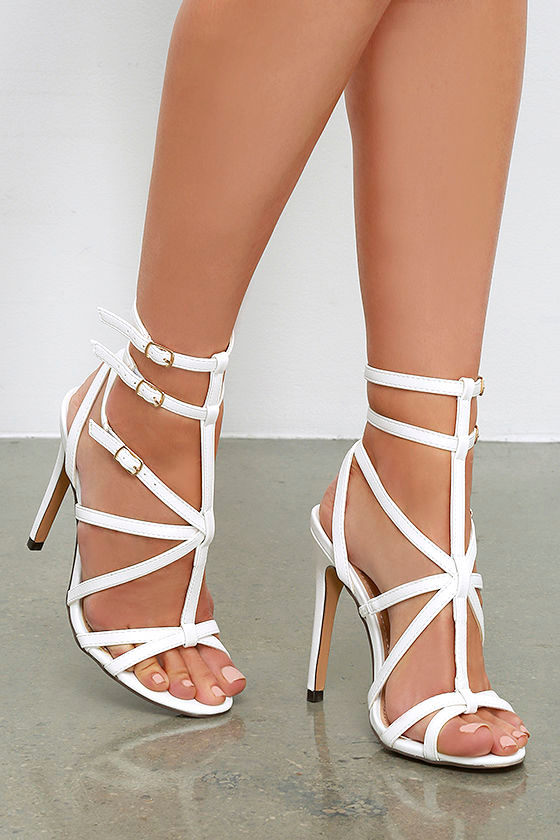 Sexy White Heels - Caged Heels - Dress Sandals - $32.00