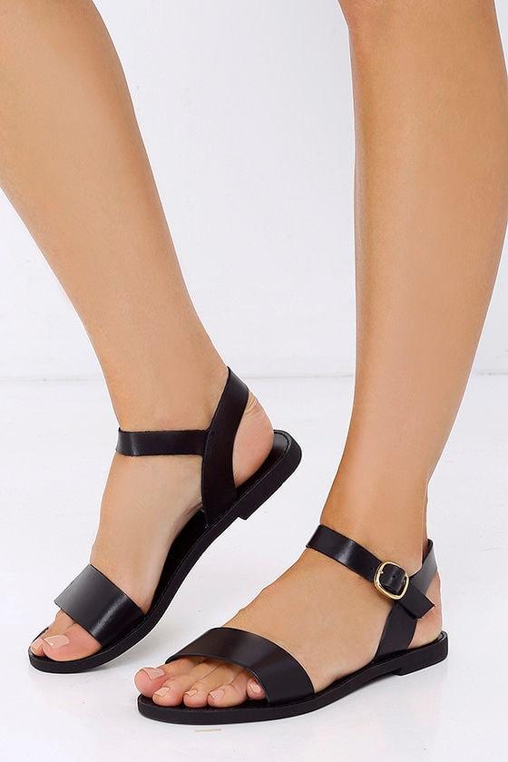 2097e4253 Cute Black Sandals - Leather Sandals - Flat Sandals - $59.00