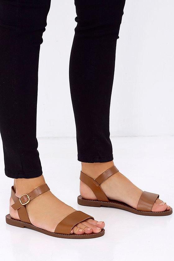 3d61dd04c1ce Cute Tan Sandals - Leather Sandals - Flat Sandals - $59.00