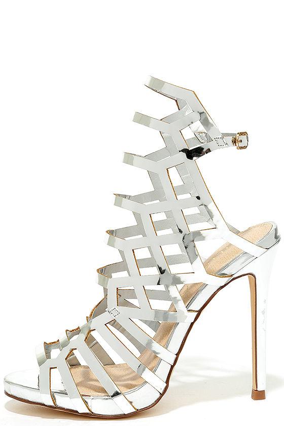 Caged Heels - Peep Toe Heels - Silver Heels - Metallic Heels - $37.00