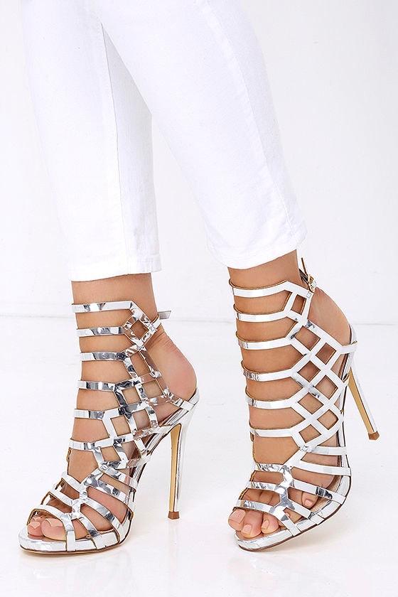 f0cc276b2b2 Caged Heels - Peep Toe Heels - Silver Heels - Metallic Heels -  37.00