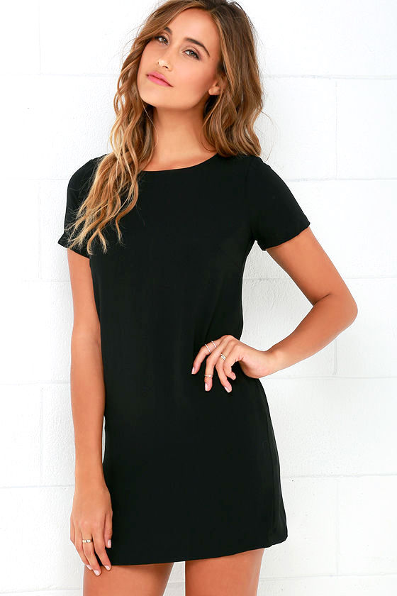 Chic Black Dress - Shift Dress - Short Sleeve Dress - $48.00