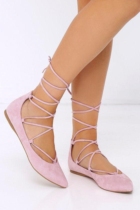e6d690a769b Steve Madden Eleanorr Flats - Pink Flats - Ankle Wrap Flats -  79.00
