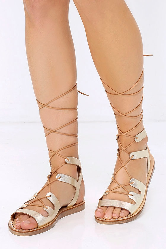 Popular Cute Gold Sandals - Flat Sandals - Lace-Up Sandals - $69.00 FW69