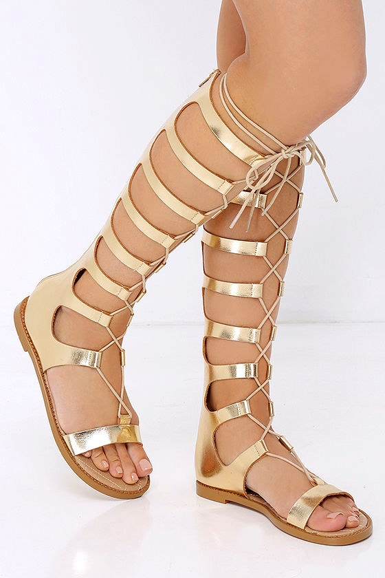 32a52156f Cute Gold Sandals - Tall Sandals - Gladiator Sandals -  79.00