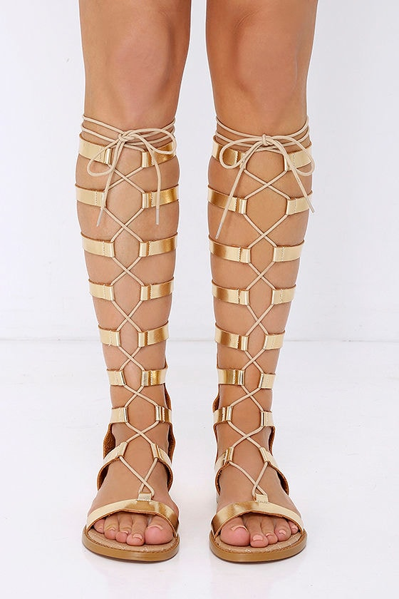 0871589380e2 Cute Gold Sandals - Tall Sandals - Gladiator Sandals -  79.00