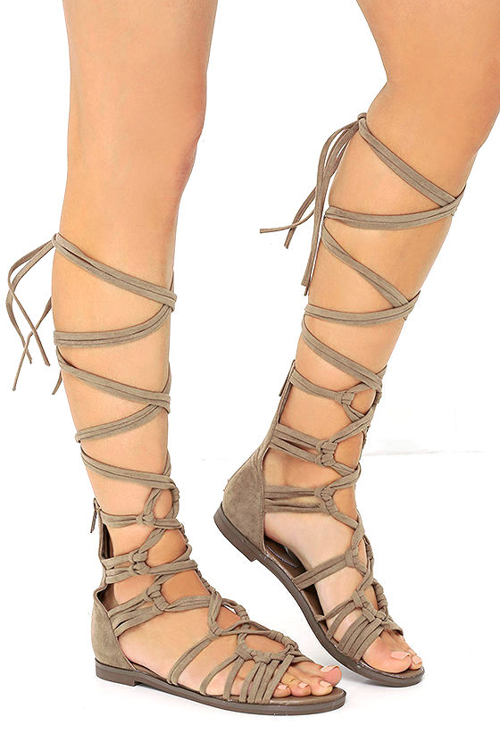 First Empress-ion Beige Suede Lace-Up Gladiator Sandals 1