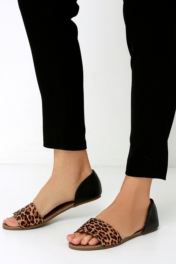 Cute Leopard Flats Peep Toe Flats 23 00