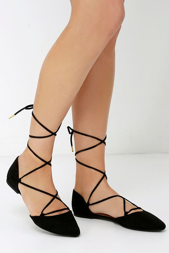 Chic Black Flats - Pointed Flats - Lace-Up Flats - $22.00