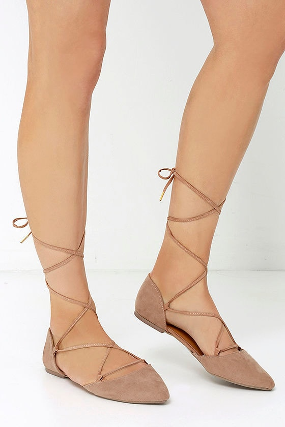 chic taupe flats pointed flats lace up flats 22 00