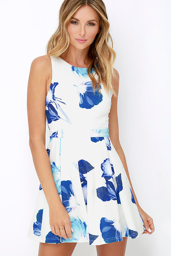 Pretty Blue and Ivory Dress - Floral Print Dress - Skater Dress ...